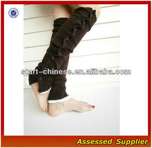 New Arrival Winter Black Open Knitted Cotton Leg Warmers with Lace and Buttons Suit for Boots Jeans