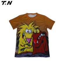 round neck 100% sublimation cartoon poly t-shirt fashion design 2015