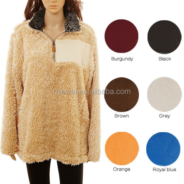 Factory New arrival personalized oversize woman frosted 1/4 zip fleece pullover wholesale