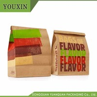 Custom made low cost burger brown craft paper bag with custom print