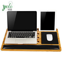 Bamboo Lap Desk includes padded wrist-rest, integrated tablet slots