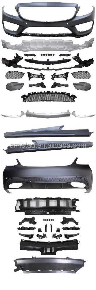 CAR AUTO BODY PARTS FOR MERCEDES-BENZ W205 C-CLASS FOR AMG 2015 FRONT BUMPER+REAR BUMPER+SIDE SKIRT
