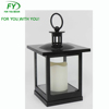 ML-1908 Square mini table and hanging plastic lantern with glass panels and LED candle