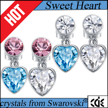 CDE original crystals from Swarovski factory bulk wholesale 2017 fashion stainless steel jewelry blue pink drop earring