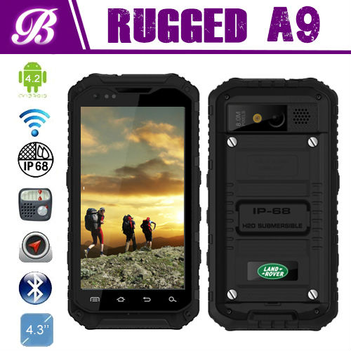 4.3inch MTK6589 Quad core 1.5G NFC 3G waterproof land rover a9 ip68 rugged phone