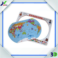 World map and cartoon jigsaw puzzle magnetic puzzle