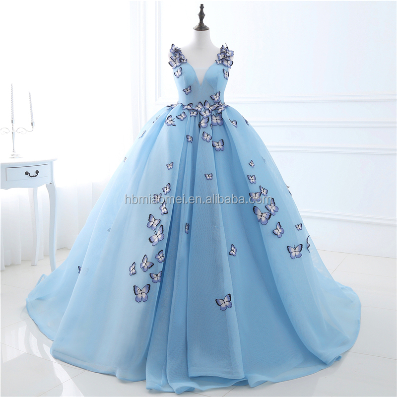 Stunning 2017 Sleeveless Deep V Neck Embroidered 3D Butterfly Sky Blue Net Yarn Formal Evening Dress Wedding Dress For Bridal