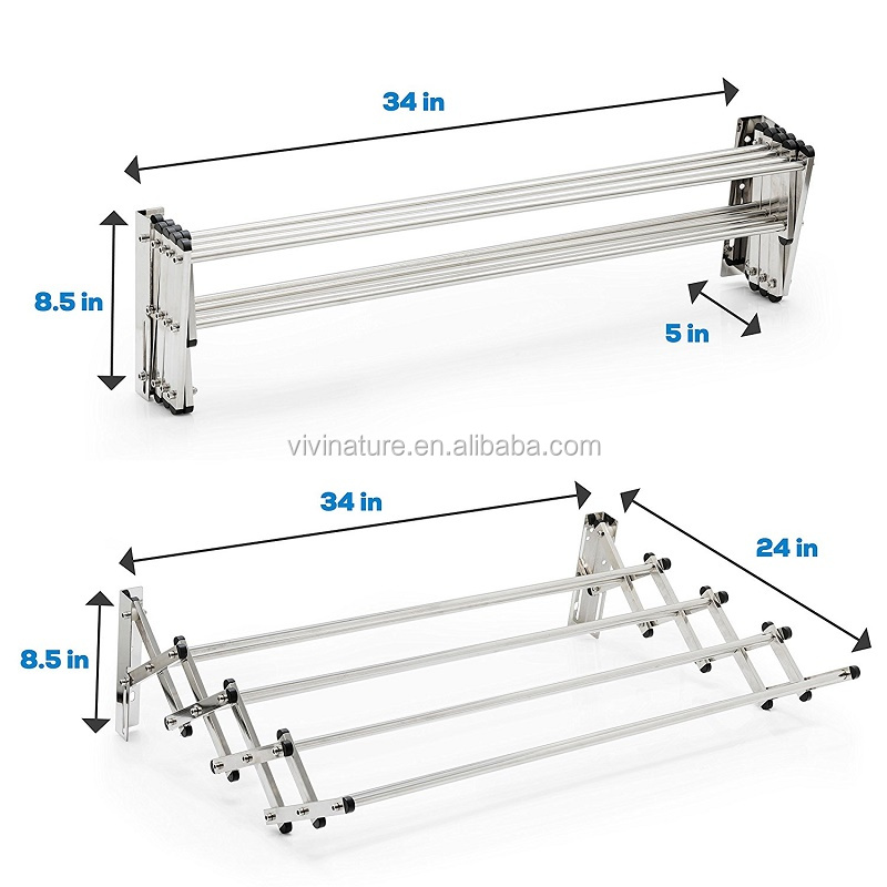 Drying Rack With Accordion Wall Mount Hanger Foldable Versatile Laundry Dryer Bracket