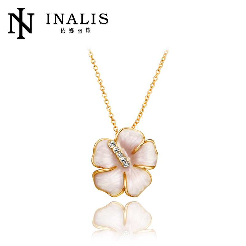 2014 crystal pave resin flower necklace N652