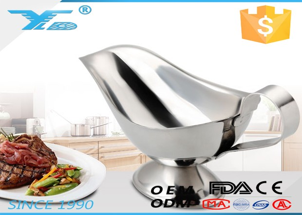 wholesale gravy boat with handle and base new design sauce boat stainless steel gravy boat