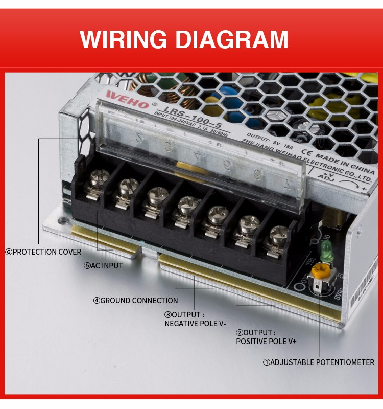 WEHO high efficiency LRS -100-15 ultra thin 30mm 84-265v input 100w 15v ac/dc single switch power supply