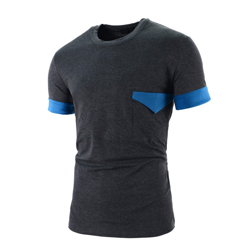 Mens T Shirts Fashion 2015 Summer Men Patchwork Casual Short Sleeve O Neck Slim Fit T-shirt