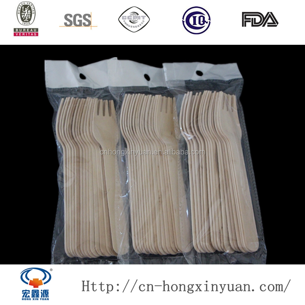 15 pce/bag Wholesale Birch Wood Disposable Wooden Cutlery