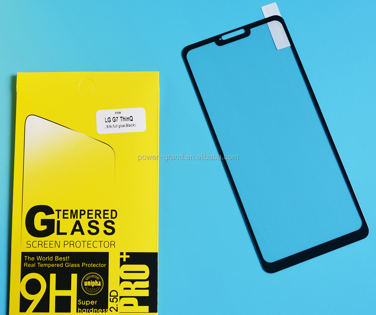 2.5D 9H Silk printing FULL Glue full cover Tempered glass screen protector for LG G7 ThinQ