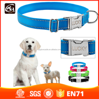 Reflective Nylon Personalized Dog Collars Custom Pet Tag Collars Engraved With Metal Buckle 6 Colors S M L