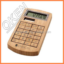 Private lable Hairong factory bamboo desktop calculator promotion solar office calculator