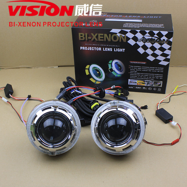 LED angel eyes Hid bi-xenon bulbs headlight projector lens