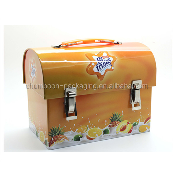 metal tin lunch box with handle and lock metal tin suitcase