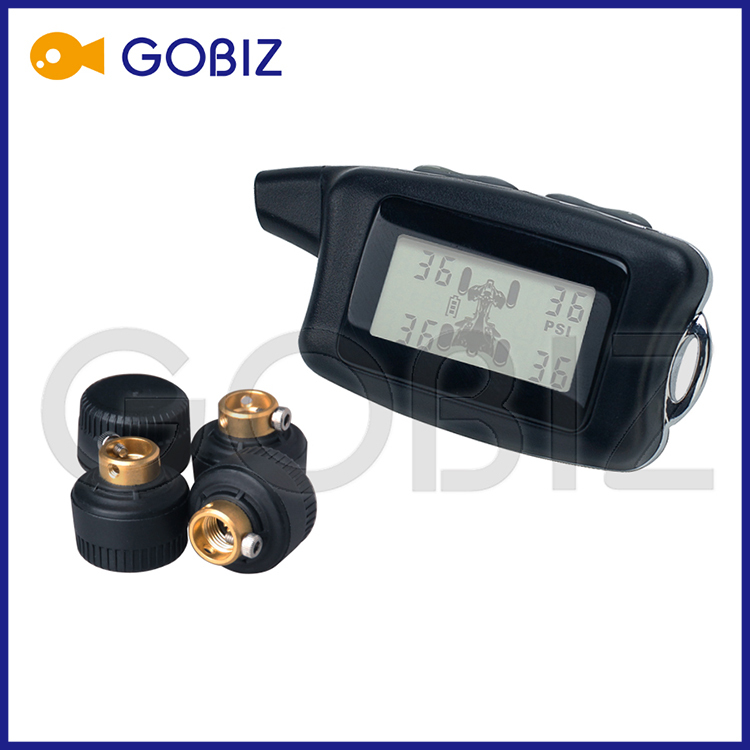 Wireless Tire Pressure and Temperature Monitoring System for 4-wheels Motorcycle with External Sensors