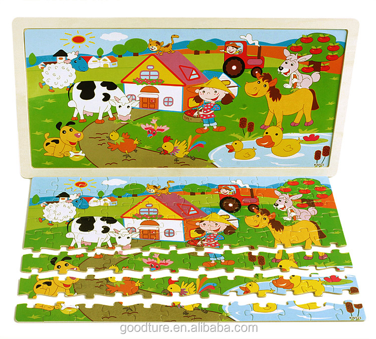 Customized Brand Accepted 96 Pieces Wooden Jigsaw Puzzle Of Theme: Animal, Farm, Dragon, Fazenda, Cat Fishing