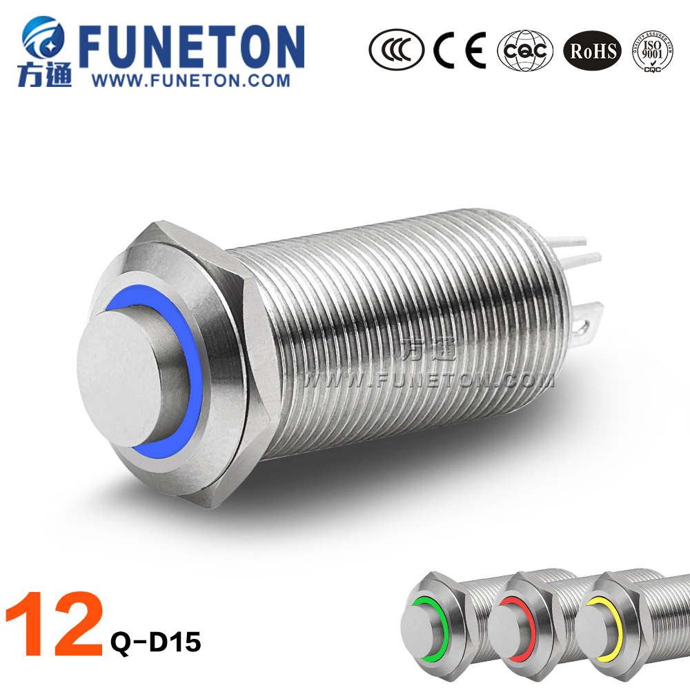 Professional 5v led push button, IP65 12mm self reset button switch