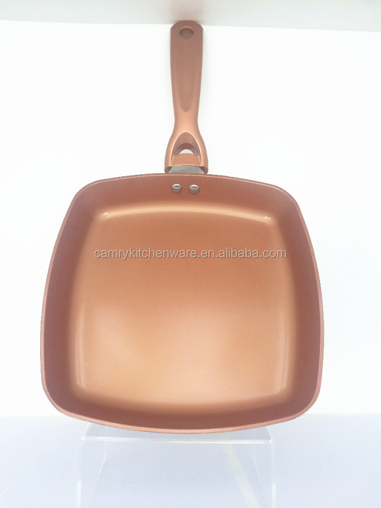 alu pressed square grill pan with copper titanium coating chef's pan