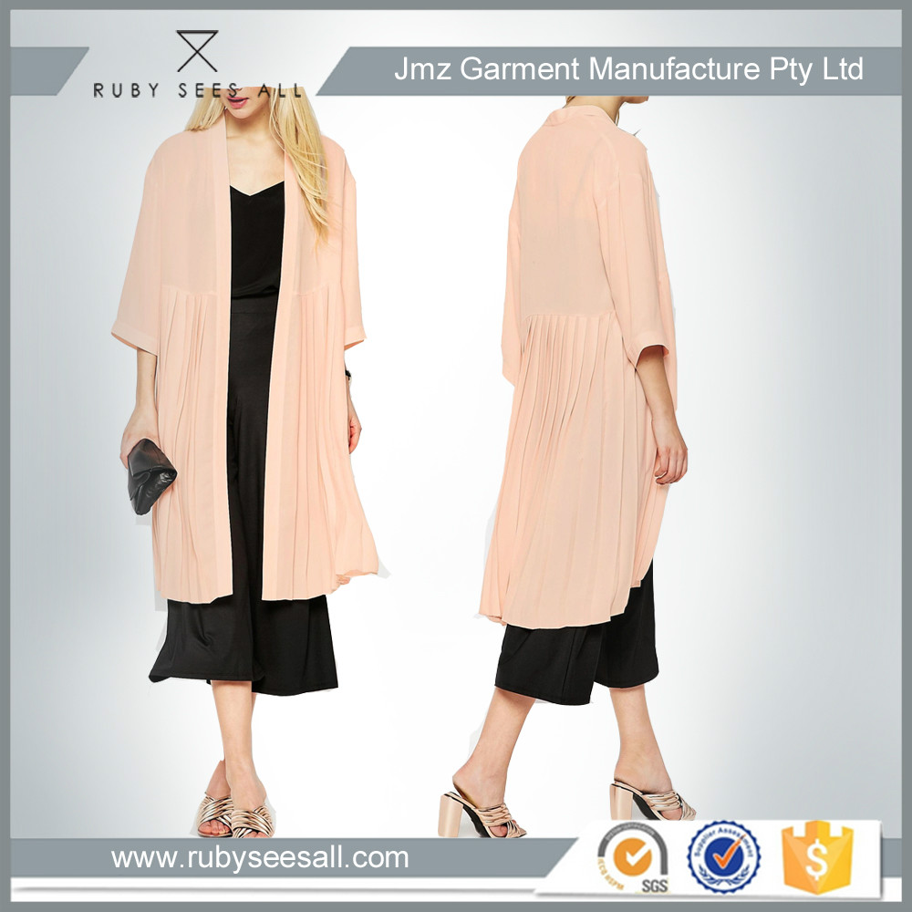 gathering soft woven light fabric nude long coat women apparel maxi latest design pretty women casual clothing