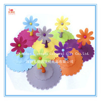Disposable silicone juice cup lid, 2017 eco-friendly fashion flower shape silicone cup lid, cup cover