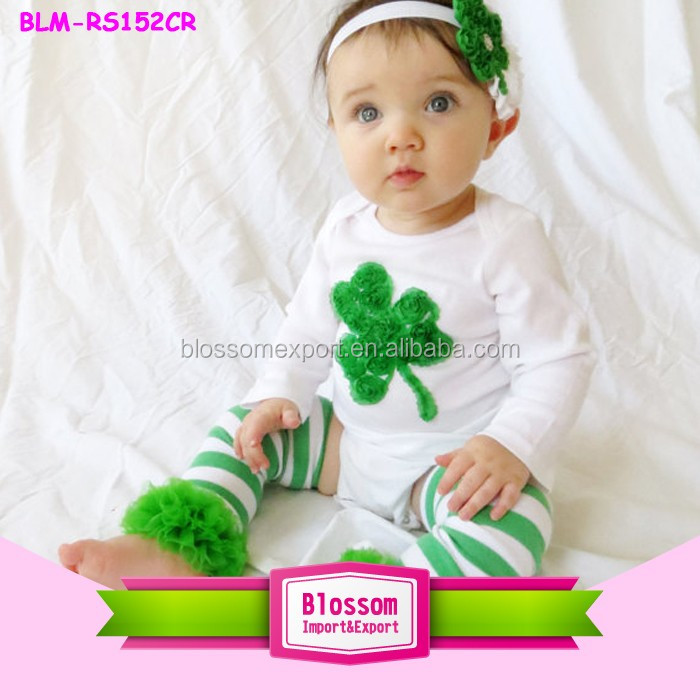 St Patrick's Day Outfit, Shamrock Onesie with Matching Leg Warmers and Headband Green Spring outfit for toddlers