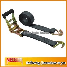 Black Polyester Strap Ratchet Tie Down/Ratchet Belt with Double J Hook
