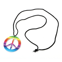 Plastic Rainbow Hippie Peace Sign Medallion Necklace 60S Fancy Dress Accessories