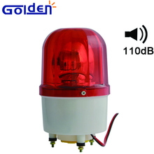 110v halogen lamp rotating buzzer warning light with alarm