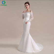 2017 Latest Design lace mermaid wedding dresses white colors Romantic best Bride gown