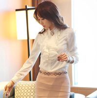 d83468f 2016 ladies office wear white chiffon tops wholesale ruffle blouse