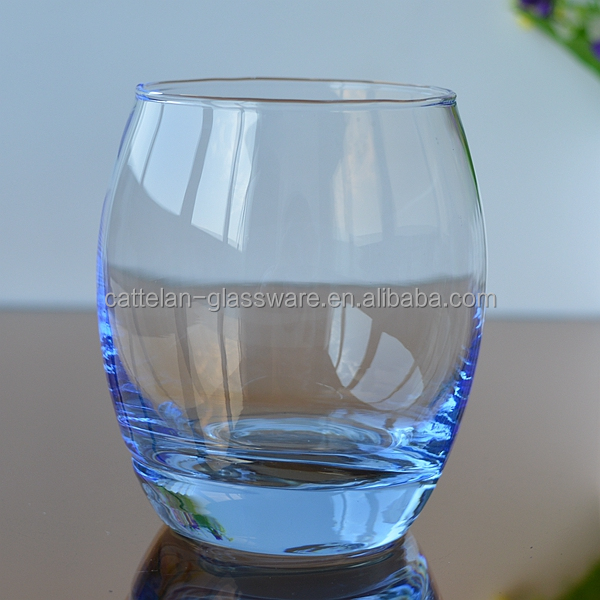 Bubble blue drinking whisky/wine glass cup from Bengbu Cattelan Glassware Factory