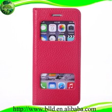 Top seller double window cell phone pu leather cases for Iphone 6