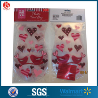 portable weding valentine's treat bags decorative cello bags with sweet heart printing