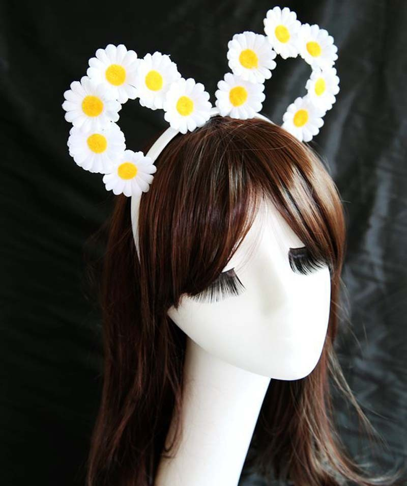 BOHO HIPPIE VINTAGE STYLE MINI WHITE DAISY FLOWER CAT EAR HEADBAND