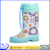 Cute blue fashional kids buckle strap rain boots