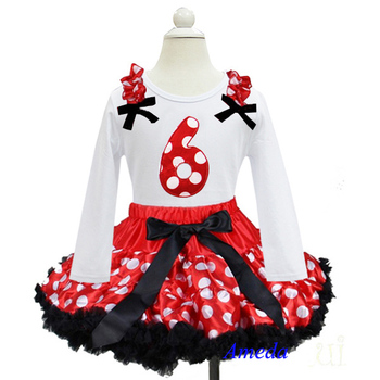 Red White Polka Dots Black Trim Pettiskirt with 6th Birthday White Long Sleeves Tee 1-7Y