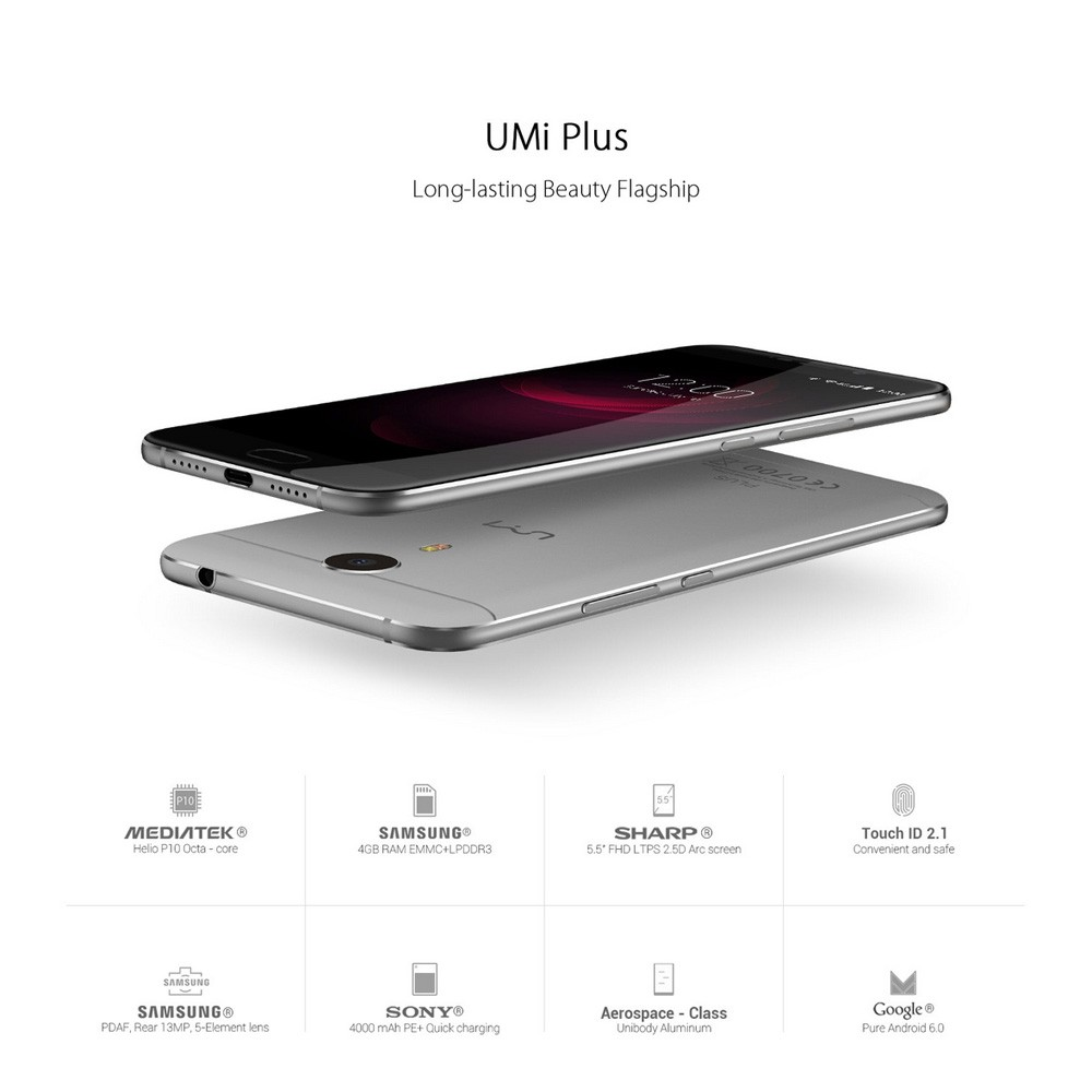 "Umi Plus 4G Fingerprint 4000mAh 5.5"" FHD Smartphone Android 6.0 MTK6755 Octa Core Cellphone 4GB+32GB 13MP Mobile Phone"