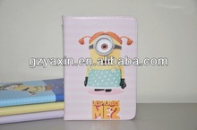 Despicable me 2 case for ipad mini,oem factory colors stand protection pu leather case for ipad