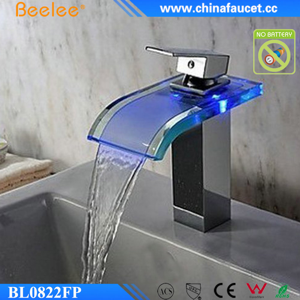 Beelee BL0822FP Single Handle Water Power LED Waterfall Bathroom LED Glass Faucet