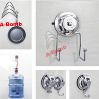 2016 A-bomb No drilling No tool No screw No rust 304 stainless steel TPU vacuum suction metal wall hook