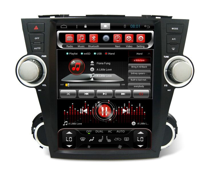Quad core! Android car dvd for highlander 2008 Capacitive Screen/ GPS/Mirror Link/DVR/TPMS/OBD2/WIFI/4G/3G/IPOD