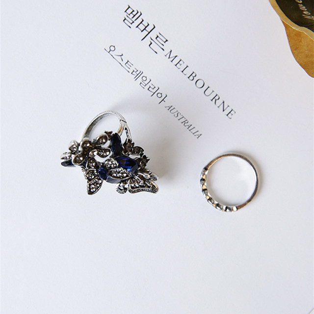South Korea exaggerated butterfly flower crystal ring female Japan and South Korea jewelry tide index finger personality two set