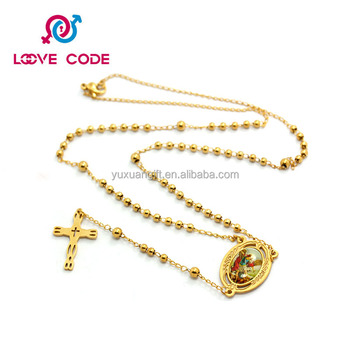 Popular Unique Gold Rosary Necklace Design,4 MM Bead Religious Necklace
