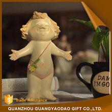 Handicraft lovely baby sculpture with smile resin figurine angel statue