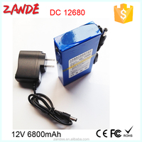Zande Super YSD portable li-ion lithium battery pack rechargeable 12v 6800mah for backup power bank external battery