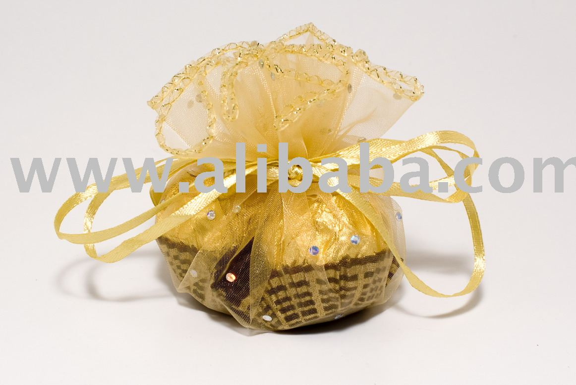 24cm Shining Dot Round Gift Bag (Organza) Gold